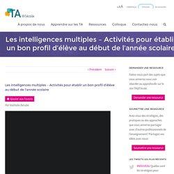 Les intelligences multiples - Activités pour établir un bon profil d'élève au début de l'année scolaire