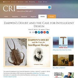 Darwin's Doubt and the Case for Intelligent Design