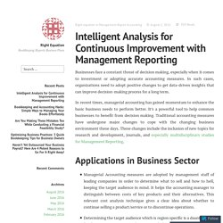 Intelligent Analysis for Continuous Improvement with Management Reporting – Right Equation