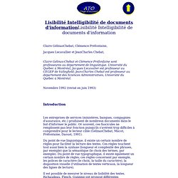Lisibilité Intelligibilité de documents d'information
