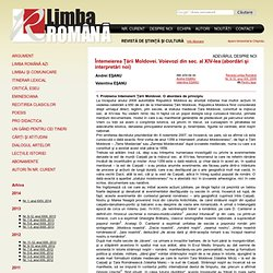Întemeierea Ţării Moldovei. Voievozi din sec. al XIV-lea (abordări şi interpretări noi) - LimbaRomana