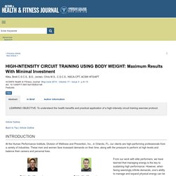 HIGH-INTENSITY CIRCUIT TRAINING USING BODY WEIGHT: Maximum R... : ACSM's Health & Fitness Journal