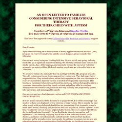 Astraea's Politics: A Warning about ABA and Intensive Behavioral Therapy for Autistics