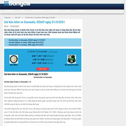 Soi kèo Inter vs Sassuolo, 02h45 ngày 21/3/2021