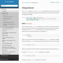 Using Interact — Jupyter Widgets 7.4.1 documentation