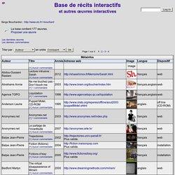 Récit interactif - Base de données de récits interactifs