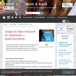 Usage du tapis interactif en maternelle – Expérimentation - Prim à bord
