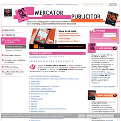 Lexique interactif du marketing sur le site mercator (Dunod)