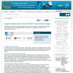 L'Agence nationale des Usages des TICE - Usage du tableau blanc interactif (TBI) en classe de technologie