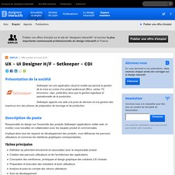 designers interactifs › Actualités › Emploi › UX – UI Designer H/F – Setkeeper