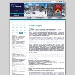La Ville et JCDecaux inaugurent les totems e-Village® à Aix-en-Provence, mobiliers tactiles interactifs de contenus / 2014 / Communiqués / Presse / Accueil