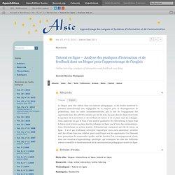 Tutorat en ligne– Analyse des pratiques d'interaction et de feedback dans un blogue pour l'apprentissage de l'anglais