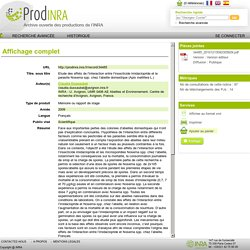 UNIVERSITE MONTPELLIER II - 2010 - Rapport de stage : ETUDE DES EFFETS DE L'INTERACTION ENTRE L'INSECTICIDE IMIDACLOPRIDE ET LE PARASITE NOSEMA SPP. CHEZ L'ABEILLE DOMESTIQUE (APIS MELLIFERA L.)