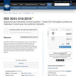 Partie 210: Conception centrée sur l'opérateur humain pour les systèmes interactifs
