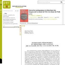 Interaction pédagogique et didactique des langues (de la classe de FLE à la classe de FLM)