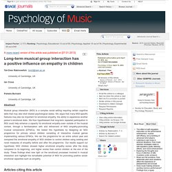 Long-term musical group interaction has a positive influence on empathy in children
