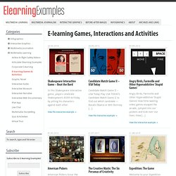 E-learning Games, Interactions and Activities