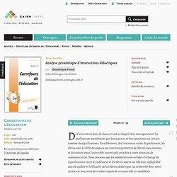 Analyse proxémique d'interactions didactiques