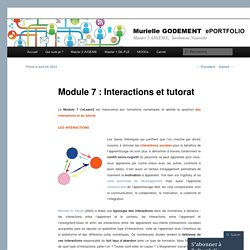 Module 7 : Interactions et tutorat