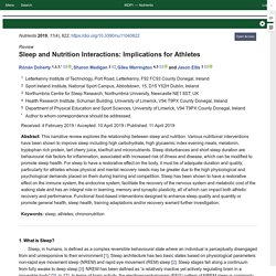 Sleep and Nutrition Interactions: Implications for Athletes