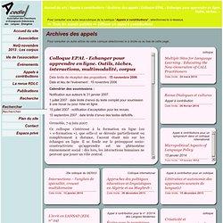 Colloque EPAL - Echanger pour apprendre en ligne. Outils, tâches, interactions, multimodalité, corpus