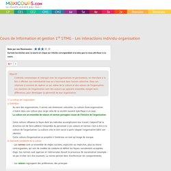 Cours de Information et gestion 1re STMG - Les interactions individu-organisa...