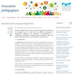 Interactions dans un groupe d'apprenants - Innovation Pédagogique