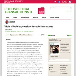 Role of facial expressions in social interactions