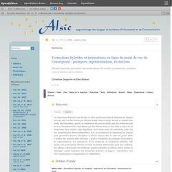Formations hybrides et interactions en ligne du point de vue de l'enseignant: pratiques, représentations, évolutions