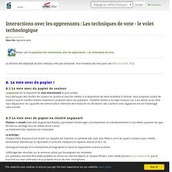 Interactions avec les apprenants : Les techniques de vote - le volet technologique - ePortfolio UPEC