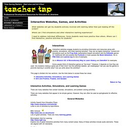 Teacher Tap: Interactive Websites, Games, and Activities