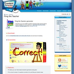 Fling the Teacher generator - interactive Flash learning game - ContentGenerator.net - create your own Educational Flash games, quizzes and activities