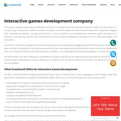 Interactive Game Development - Creatiosoft Solutions Private Limited