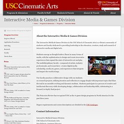 School of Cinematic Arts - Programs » Interactive Media