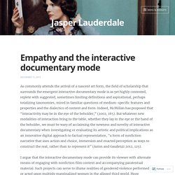Empathy and the interactive documentary mode – Jasper Lauderdale