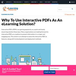 Why To Use Interactive PDFs As An eLearning Solution? - eLearning Industry