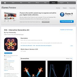 Silk – Interactive Generative Art for iPhone 3GS, iPhone 4, iPhone 4S, iPhone 5, iPod touch (3rd generation), iPod touch (4th generation), iPod touch (5th generation) and iPad on the iTunes App Store