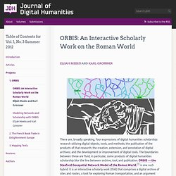 » ORBIS: An Interactive Scholarly Work on the Roman World Journal of Digital Humanities