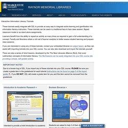 Interactive Information Literacy Tutorials // Raynor Memorial Libraries // Marquette University