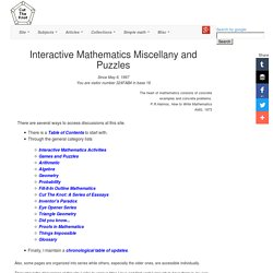 Front Page, Interactive Mathematics Miscellany and Puzzles