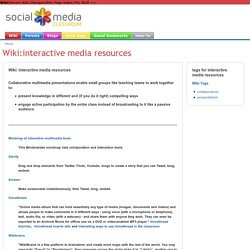 Wiki:interactive media resources