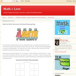 Made For Math: Interactive Notebook Planning Page