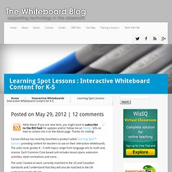 Learning Spot Lessons : Interactive Whiteboard Content for K-5