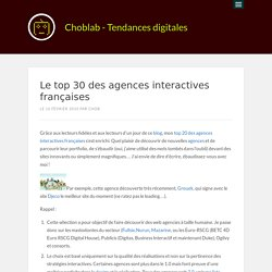 Le top 30 des agences interactives françaises