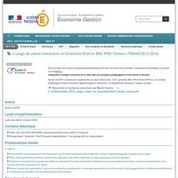 L'usage de vidéos interactives en Economie-Droit en BAC PRO Tertiaire (TRAAM 2015-2016)