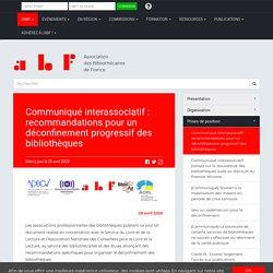 Communiqué interassociatif : recommandations pour un déconfinement progressif des bibliothèques
