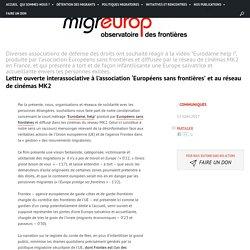 Lettre ouverte interassociative à l'association 'Européens sans frontières' et au réseau de cinémas MK2