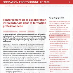 Renforcement de la collaboration intercantonale dans la formation professionnelle