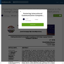 Fostering Intercultural Communicative Competence in the Foreign Language Classroom: Pedagogical Implications