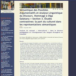 Analyse du concept «interculturel» dans le discours pédagogique et l?enseignement des langues étrangères en Colombie